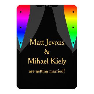 Los corazones encendidos con el boda gay del invitación 11,4 x 15,8 cm