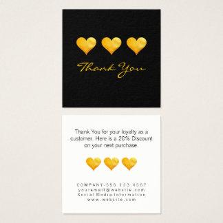 Los corazones lindos del oro le agradecen tarjeta de visita cuadrada