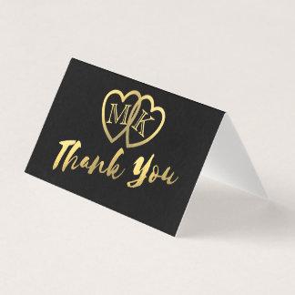 Los corazones negros mates del oro mini le tarjeta de asiento