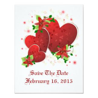 Los corazones románticos rojos ahorran la tarjeta invitación 10,8 x 13,9 cm