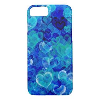 Los corazones sucios en azul sombrean la caja del funda iPhone 7