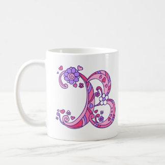 Los corazones y las flores decorativos del taza de café