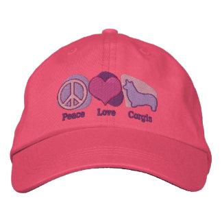 Los Corgis del amor de la paz bordaron el gorra