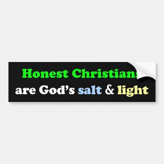 Los cristianos honestos son la sal y la luz de pegatina para coche