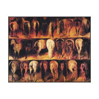 Los cuartos traseros de los caballos impresiones en lona