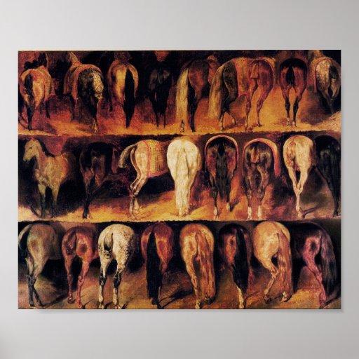Los cuartos traseros de los caballos, marrones impresiones