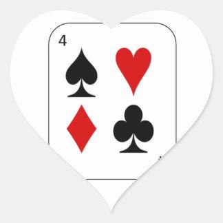 Los cuatro juegos de la tarjeta pegatina en forma de corazón