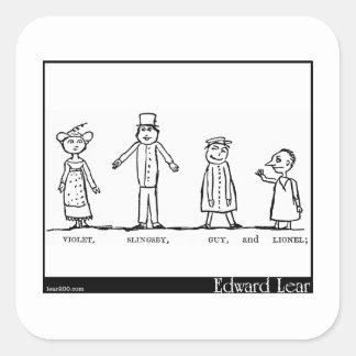 Los cuatro pequeños niños que fueron alrededor del calcomanías cuadradas personalizadas