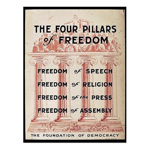 Los cuatro pilares de la libertad tarjeta postal