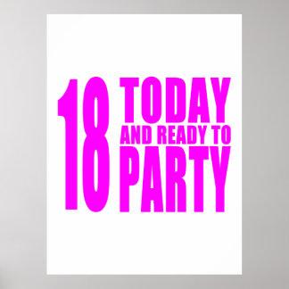 Los cumpleaños divertidos 18 de los chicas hoy y a poster