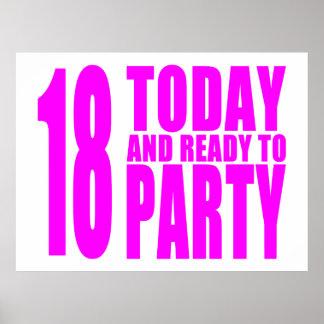 Los cumpleaños divertidos 18 de los chicas hoy y a póster