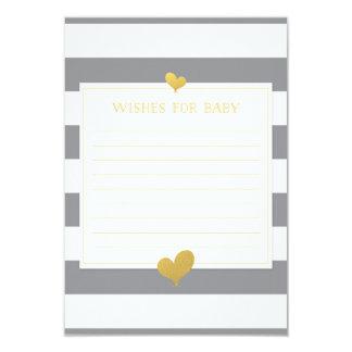Los deseos para el consejo del bebé cardan rayas invitación 8,9 x 12,7 cm