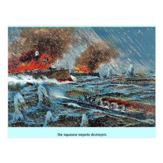 Los destructores japoneses del torpedo tarjeta postal