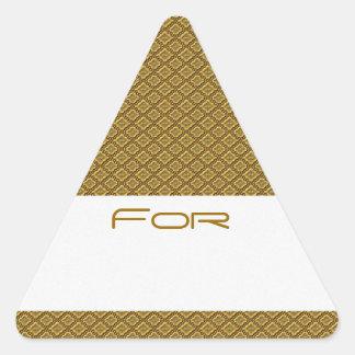 Los diamantes de oro con volantes modelaron la pegatinas triangulo personalizadas