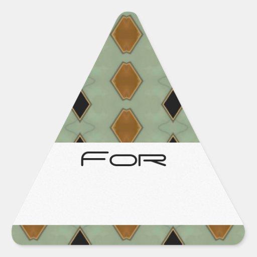 Los diamantes tejados del negro y del oro pegatinas de triangulo