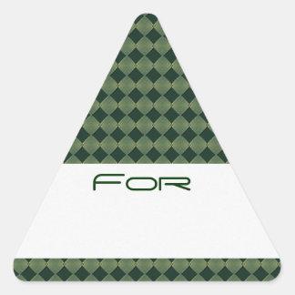Los diamantes verdes que brillaban intensamente pegatina triangulo personalizadas