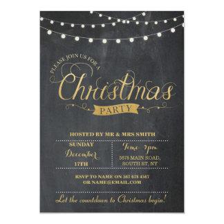 Los días de fiesta de Navidad de la tiza del oro Invitación 12,7 X 17,8 Cm
