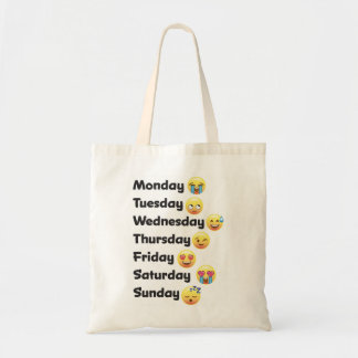 Los días divertidos de la semana Emoji hacen Bolsa Tela Barata