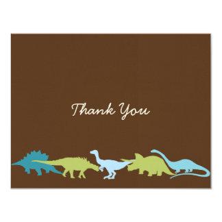 Los dinosaurios queridos le agradecen cardar invitación 10,8 x 13,9 cm