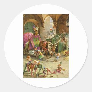 Los duendes de Papá Noel en su taller de Polo Nort Etiqueta