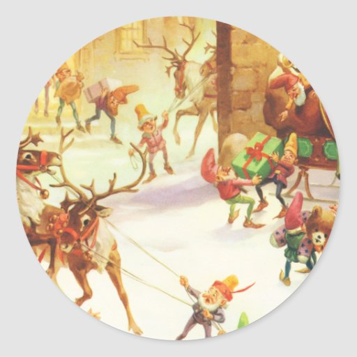 Los duendes de Santa alistan su trineo el Etiquetas Redondas