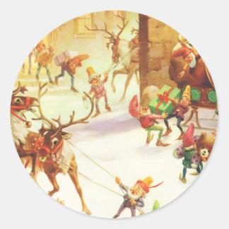 Los duendes de Santa alistan su trineo el Pegatina Redonda