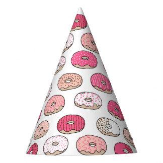 Los dulces del buñuelo del café pican el pastel/a gorro de fiesta