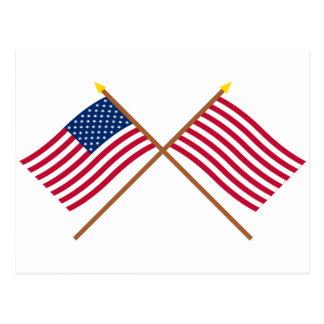 Los E.E.U.U. e hijos cruzados de las banderas de Postal