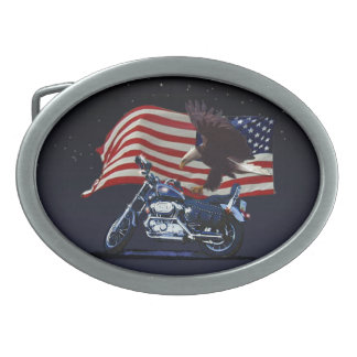 Los E E U U señalan al motorista patriótico del Hebilla Cinturón Oval