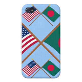 Los E.E.U.U. y banderas cruzadas Bangladesh iPhone 4 Funda