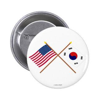 Los E.E.U.U. y banderas cruzadas Corea del Sur Pins
