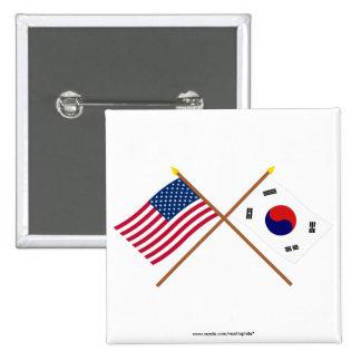 Los E.E.U.U. y banderas cruzadas Corea del Sur Chapa Cuadrada