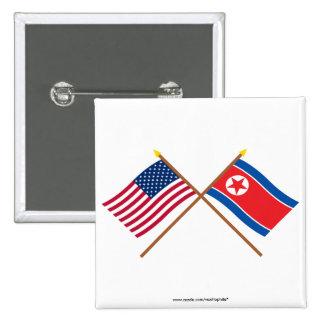 Los E.E.U.U. y banderas cruzadas de Corea del Nort Chapa Cuadrada 5 Cm