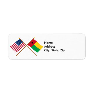 Los E.E.U.U. y banderas cruzadas Guinea-Bissau Etiqueta De Remite
