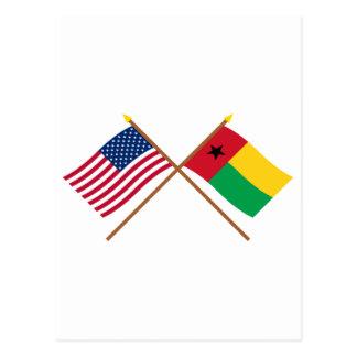 Los E.E.U.U. y banderas cruzadas Guinea-Bissau Postal