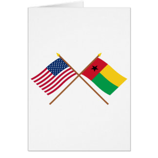 Los E.E.U.U. y banderas cruzadas Guinea-Bissau Tarjeta De Felicitación