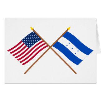Los E.E.U.U. y banderas cruzadas Honduras Tarjeta De Felicitación