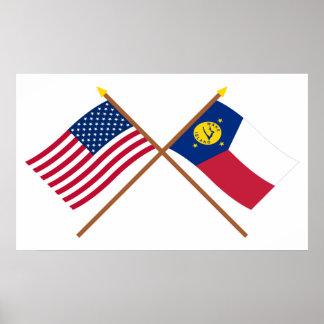 Los E.E.U.U. y banderas cruzadas isla Wake Posters