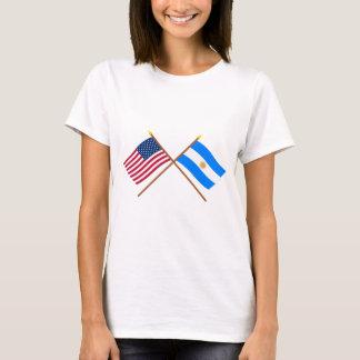 Los E.E.U.U. y banderas cruzadas la Argentina Camiseta