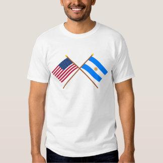 Los E.E.U.U. y banderas cruzadas la Argentina Camisetas