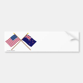 Los E.E.U.U. y banderas cruzadas Nueva Zelanda Pegatina Para Coche