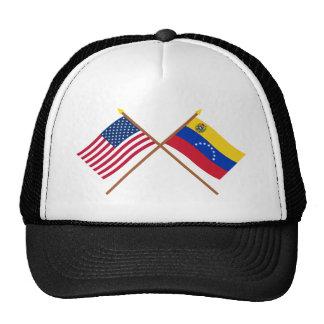 Los E.E.U.U. y banderas cruzadas Venezuela Gorro