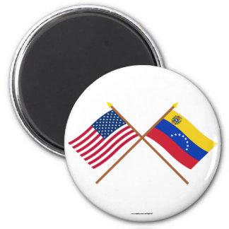 Los E.E.U.U. y banderas cruzadas Venezuela Imán
