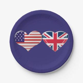 Los E.E.U.U. y placas de papel de las banderas Plato De Papel