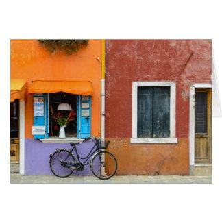 Los edificios de Burano Italia acercan a Venecia Tarjeta