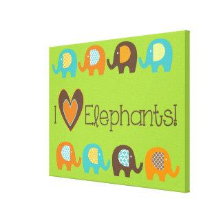 Los elefantes brillantes del amor de los colores I Lienzo