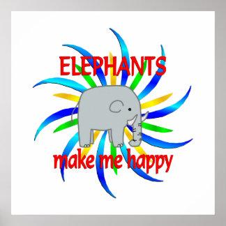 Los elefantes me hacen feliz póster