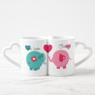 Los elefantes verdad las tazas de los amantes del tazas amorosas