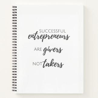 Los empresarios son cuaderno de los donantes