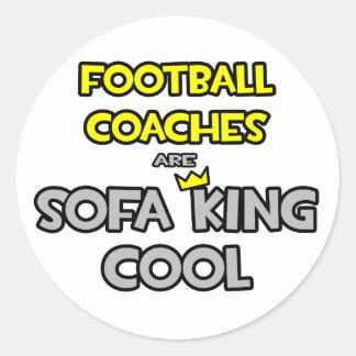Los entrenadores de fútbol son rey Cool del sofá Pegatina Redonda